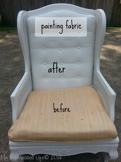 painting upholstered furniture by my repurposed life. Black Bedroom Furniture Sets. Home Design Ideas