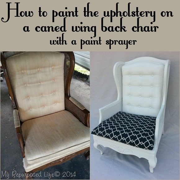 Cane Back Sofa Painting Upholstered Furniture by My Repurposed Life