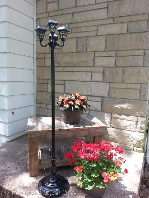 Repurposed floor lamps make great patio solar lights repurposed floor lamp solar light aloadofball Images
