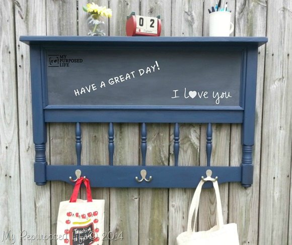 repurposed headboard chalkboard coat rack shelf