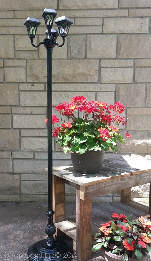 repurposed floor lamps make great patio solar lights. Black Bedroom Furniture Sets. Home Design Ideas