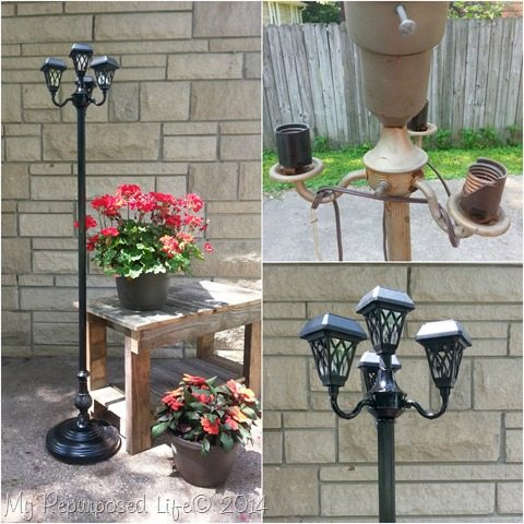 Vintage Floor Lamp Repurposed Patio Solar Light