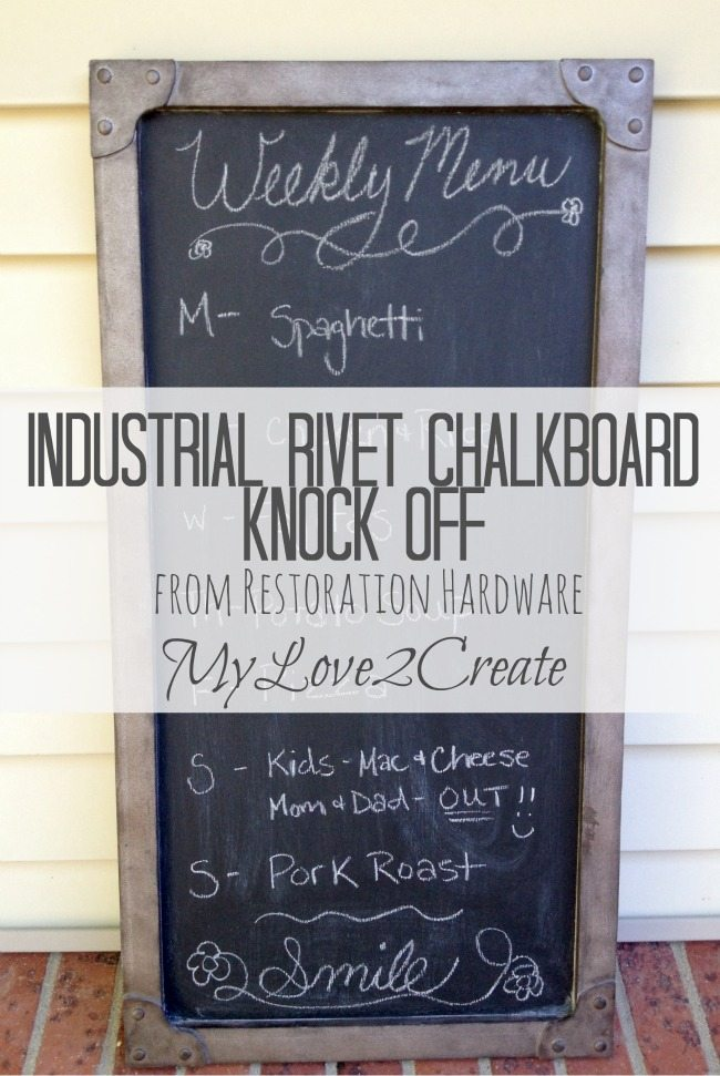 industrial rivet chalkboard knockoff