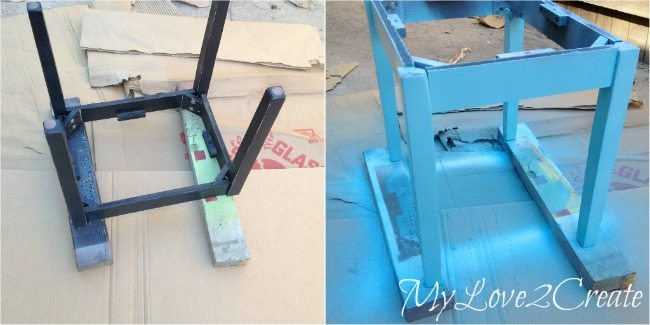 Spray painting table base