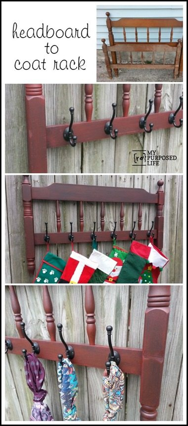 A red headboard coat rack is perfect for every day, and can even be used at Christmas to hold the family stockings. Easy Repurpose! #MyRepurposedLife #repurposed #headboard #coatrack #stocking #holder via @repurposedlife