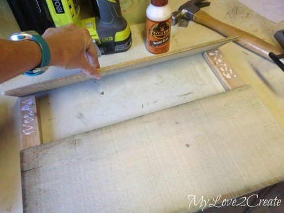 gluing and nailing boards to 1x2's