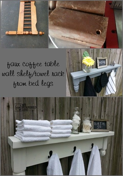 How to make a towel rack shelf using bed legs and scrap lumber. Intermediate project. Great tips for using reclaimed bits and pieces. #MyRepurposedLife #repurposed #towelrack #shelf #reclaimed #bunkbed via @repurposedlife