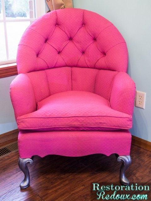 Pink-Plaster-Painted-fabric-chair