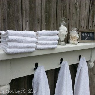 table shelf towel rack