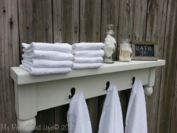 table shelf towel rack - My Repurposed Life®