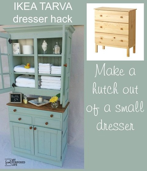 Do you need more storage for the bathroom, kitchen, or craft room? This IKEA Tarva Hack will show you how to transform a dresser into a storage hutch. #MyRepurposedLife #repurposed #furniture #IKEA #tarva #hack #dresser via @repurposedlife