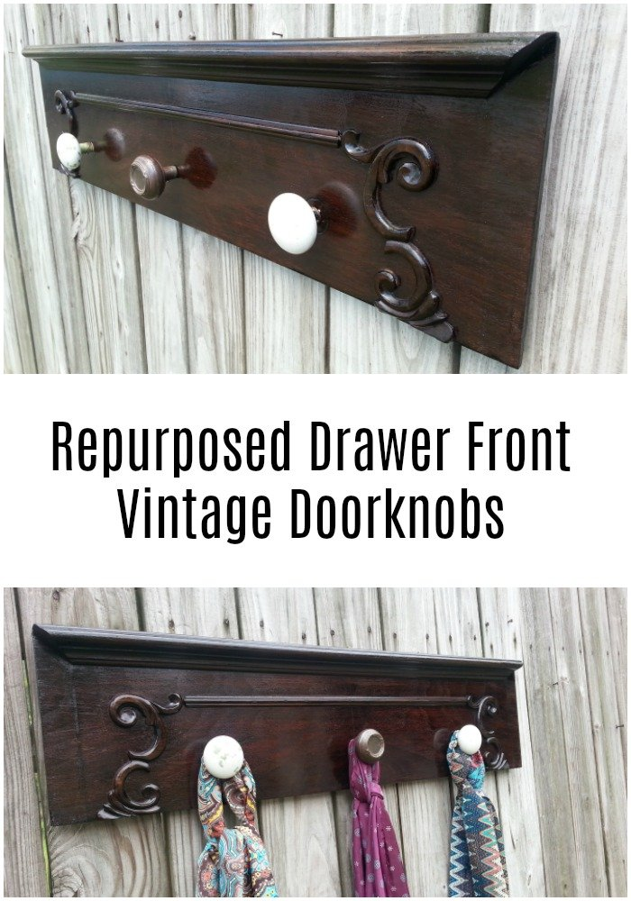 My Repurposed Life will show you how to transform an antique repurposed drawer front into a handy and beautiful rack for scarves or towels. #MyRepurposedLife #repurposed #drawerfront #hookrack #coatrack #shelf via @repurposedlife