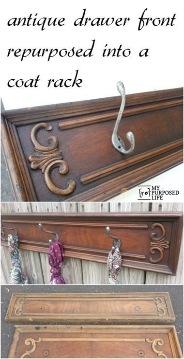 Free drawer fronts get repurposed into hook racks perfect for hats, scarves, jewelry and more. Tips on making new coat hooks look vintage to add to the appeal of the vintage drawer front. Optional--use vintage doorknobs instead of coat hooks. #MyRepurposedLife #repurposed #furniture #coatrack #hatrack #organization  via @repurposedlife