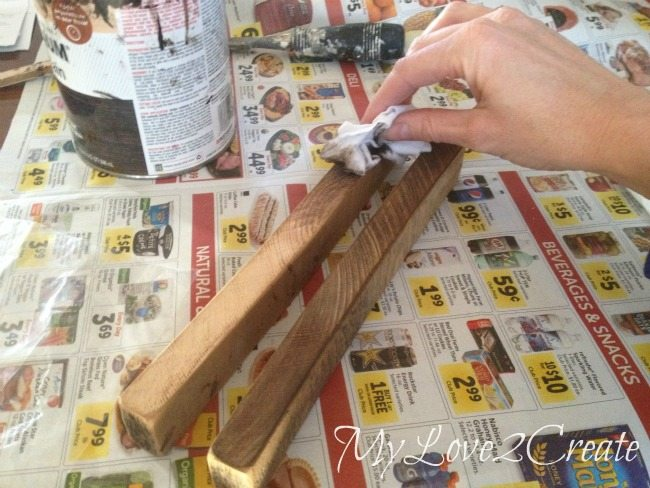 making cut ends look weathered with stain