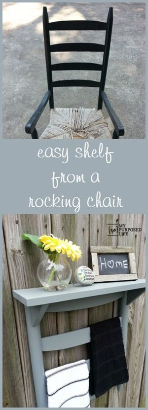 chair back towel rack shelf - My Repurposed Life®
