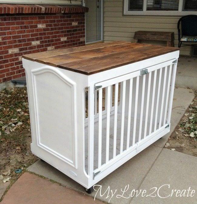 repurposed crib into dog crate