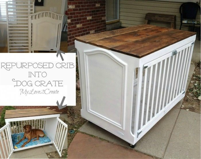 MyLove2Create Repurposed Crib into a Dog Crate