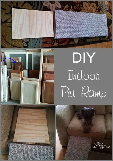 DIY indoor pet ramp for aging, disabled pets. Great for puppies too! #MyRepurposedLife #easy #diy #pet #ramp #repurposed #cabinet #door