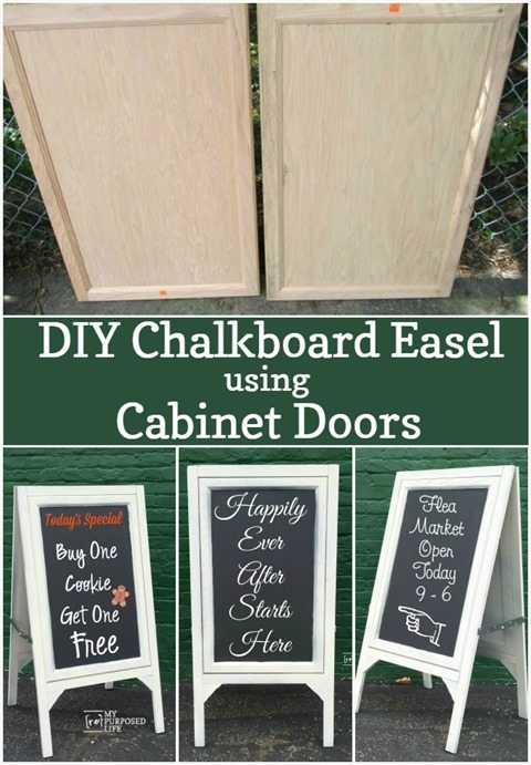 How to make a DIY chalkboard easel using 2 large cabinet doors and some scrap wood. Perfect for cafe, wedding or the kids! Step by step directions. #MyRepurposedLife #Repurposed #cabinet #doors #chalkboard #easel via @repurposedlife