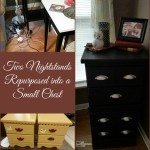 Cord Clutter solved with Repurposed Nightstands