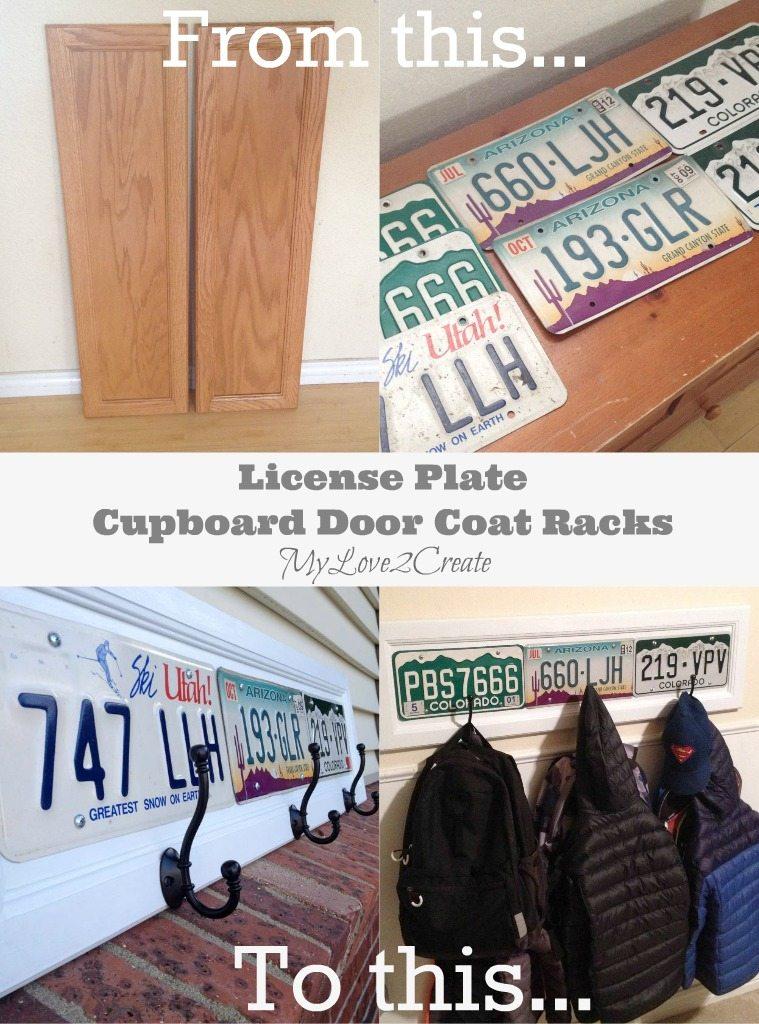 License Plate Cupboard Door Coat Racks