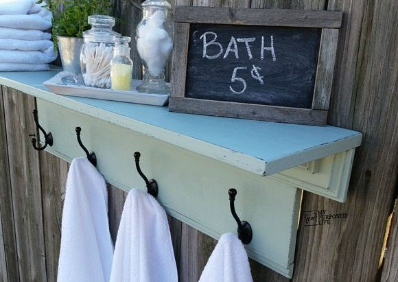 MyRepurposedLife-green-bathroom-shelf-towel-rack