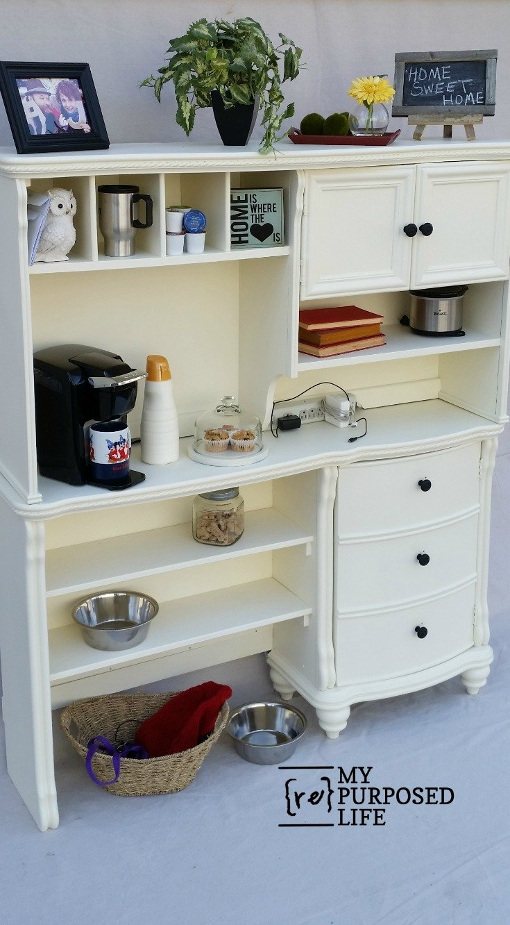 Cutting down the depth of a desk, and adding the original hutch makes this project perfect to keep any kitchen organized. Because it's no longer as deep as a desk, it takes up less room, but leave so many options for storage. #MyRepurposedLife #repurposed #furniture #kitchen #organization #storage #coffeestation  via @repurposedlife
