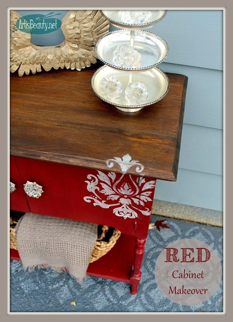 red cabinet makeover