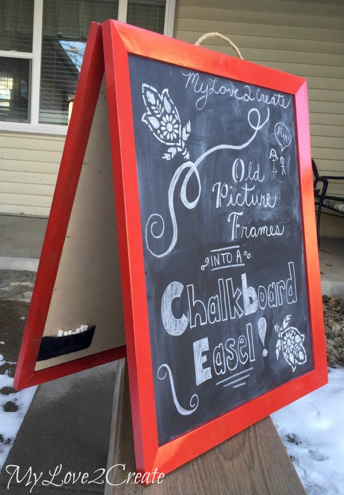 Old picture frame chalkboard easel chalk pouch
