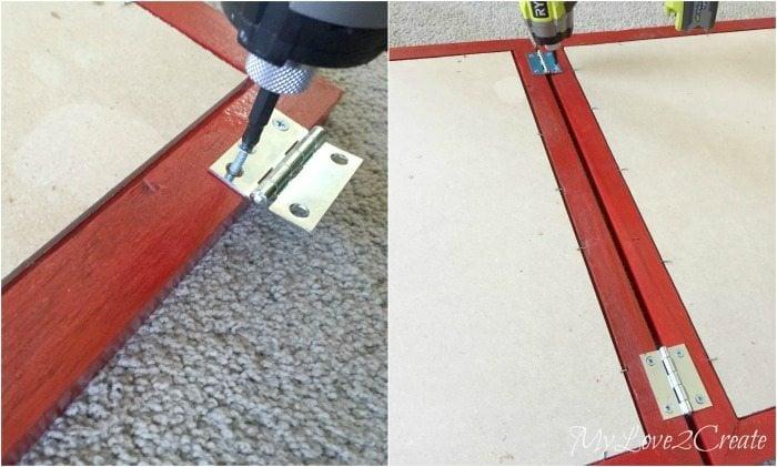 attaching hinges frames to make chalkboard easel