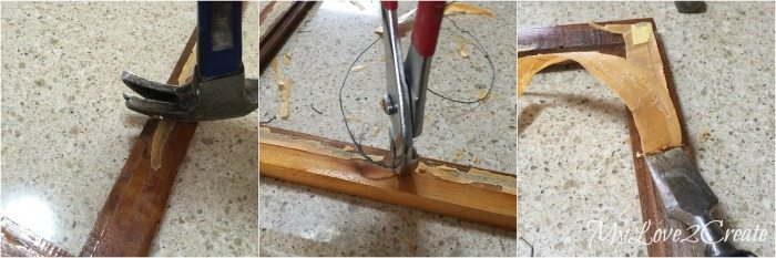 removing nail, eye screws, and old tape from picture frame