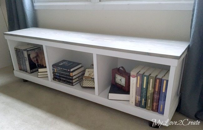 cheap cabinet into nice bench inside with books