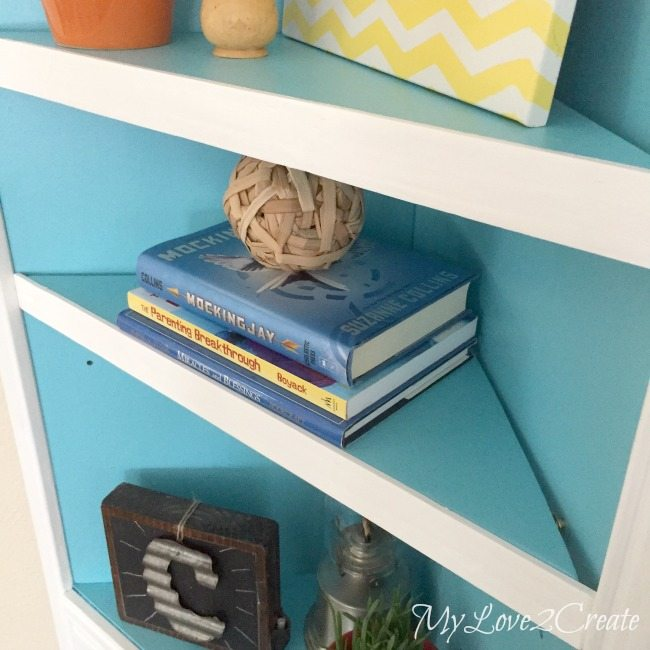 close up of shelves with added trim