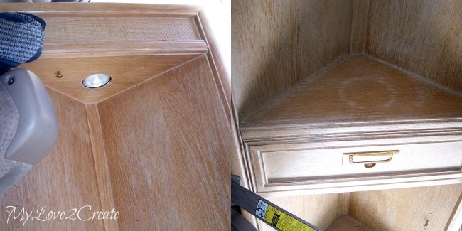 corner cabinet before water damaged