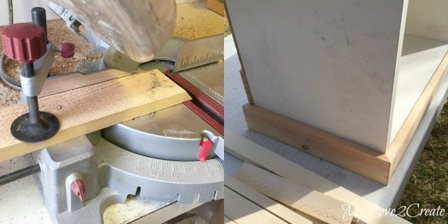 cutting and adding trim to bottom of bench