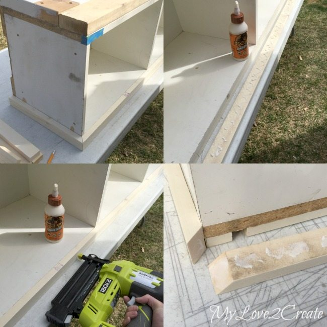 gluing and nailing on top trim