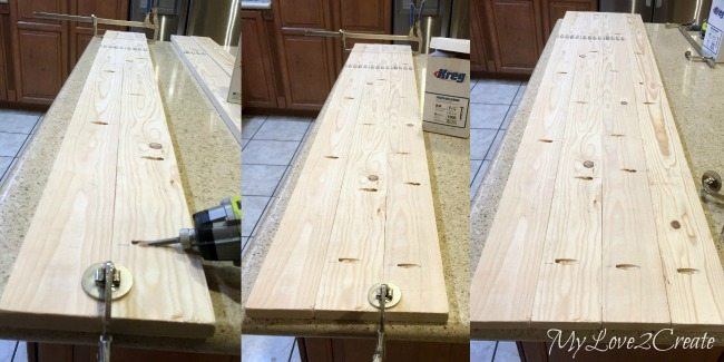 how to make a bench top with 1x4's and pocket holes
