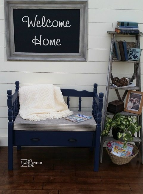 MyRepurposedLife-blue-headboard-bench-with-storage-drawer