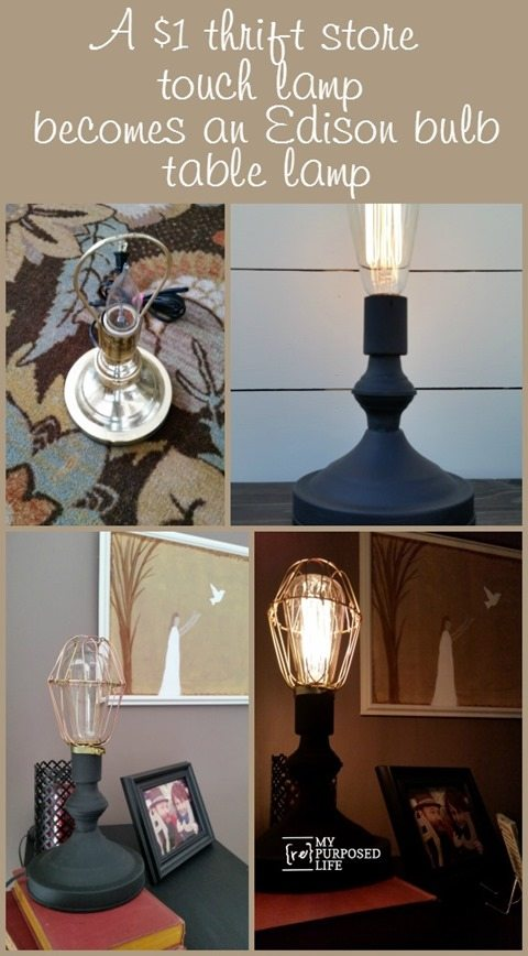A Run Of The Mill Ugly Brass Touch Lamp Gets A New Chance As A Black Lamp  With An Edison Bulb!