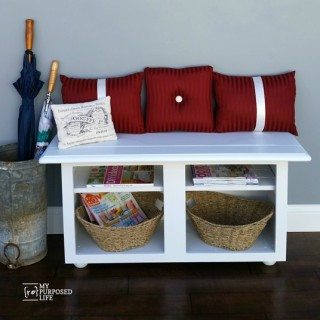 White Entryway Bench made from Kitchen Cabinet
