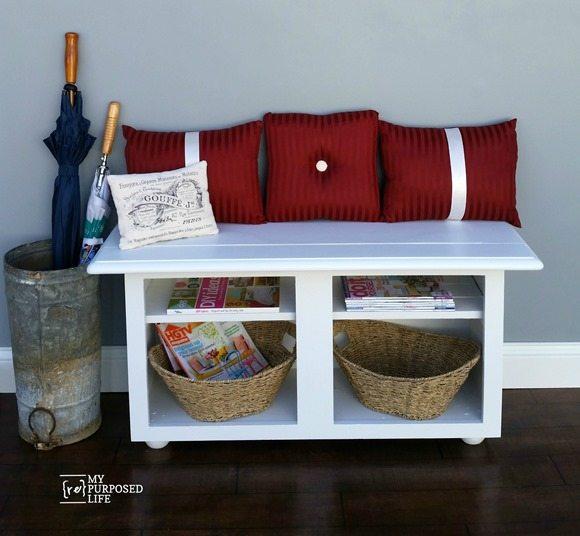 MyRepurposedLife-repurposed-kitchen-cabinet-entryway-bench