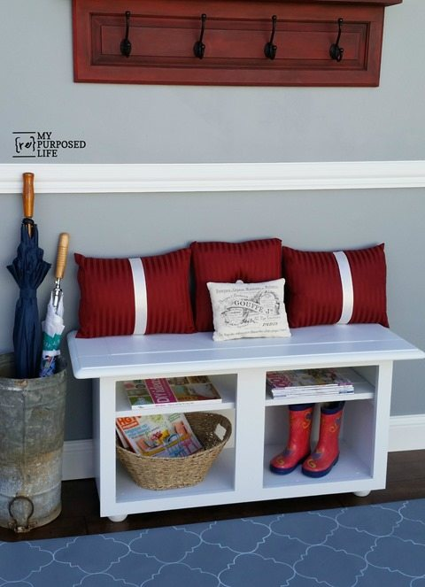 Interior Repurposing Kitchen Cabinets white entryway bench myrepurposedlife repurposed kitchen cabinet