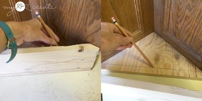 Marking where to cut the triangle base