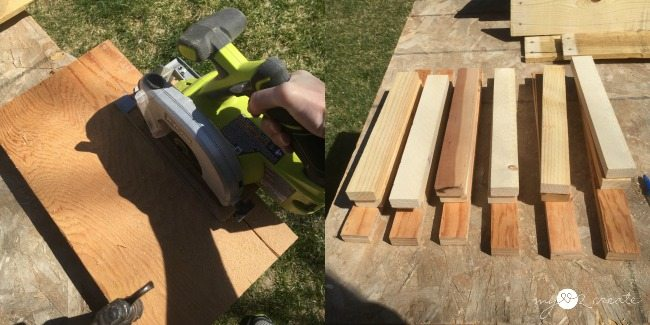 cutting 1x2 plywood strips