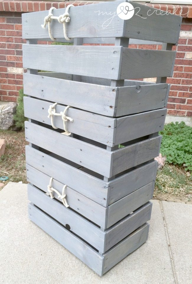 Stackable Pallet Crates, stacked on top of each other