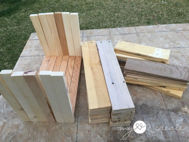 pallet wood cut and sanded to build crates
