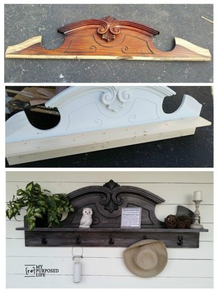My Repurposed Life did a makeover on this awesome china hutch topper! Now it's a coat rack shelf! #MyRepurposedLife #repurposed #furniture #coatrack #shelf via @repurposedlife