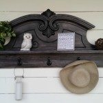 Repurposed Hutch Top into a Coat Rack Shelf