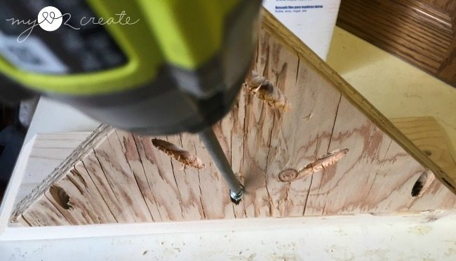 attaching faux drawer fronts to shelfs with pocket holes