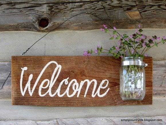 barnwood welcome sign